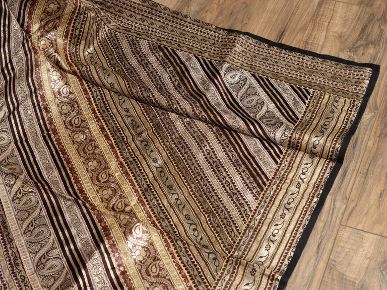 Vintage Indian Silk Embroidered Fabric with Gold, Silver and Maroon Tones For Sale 4