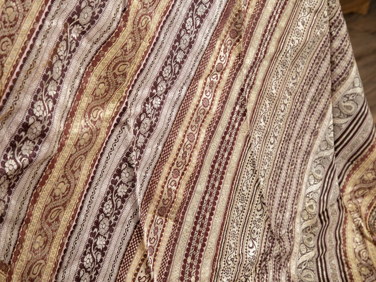 Vintage Indian Silk Embroidered Fabric with Gold, Silver and Maroon Tones For Sale 5