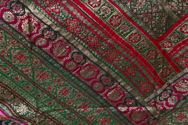 Vintage Indian Silk Embroidered Fabric with Green, Red, Fuchsia and Golden Tones For Sale 6