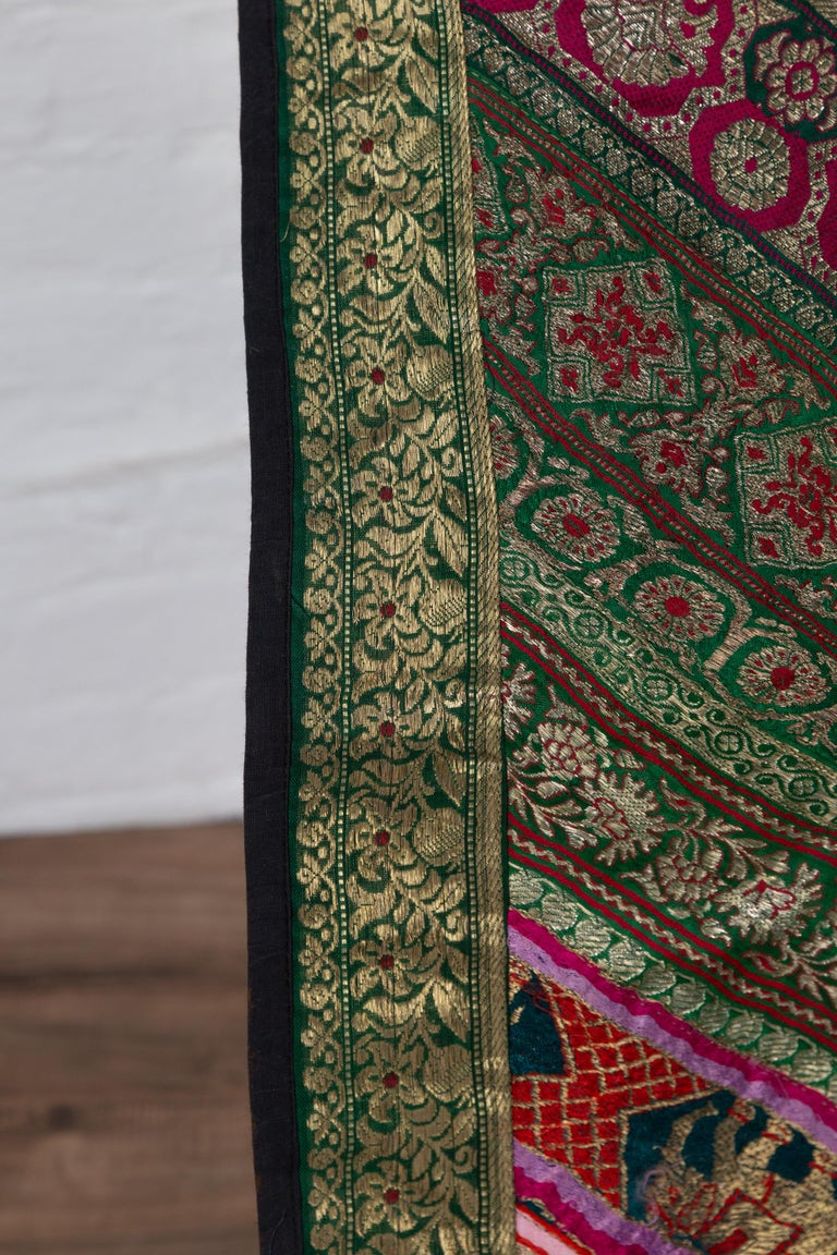 Vintage Indian Silk Embroidered Fabric with Green, Red, Fuchsia and Golden Tones For Sale 7