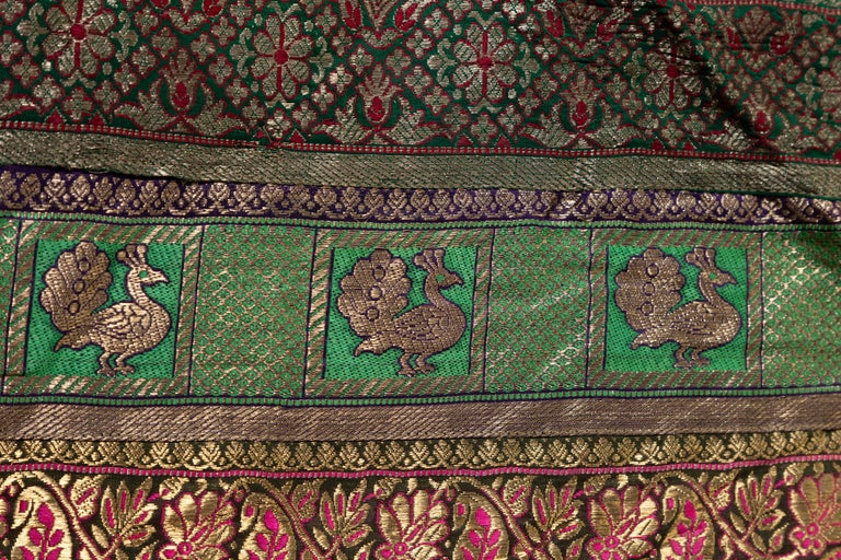 Vintage Indian Silk Embroidered Fabric with Green, Red, Fuchsia and Golden Tones For Sale 8