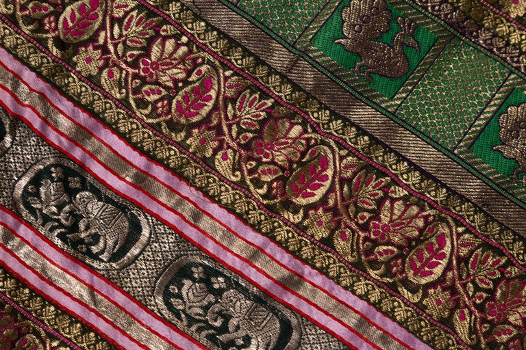 Vintage Indian Silk Embroidered Fabric with Green, Red, Fuchsia and Golden Tones For Sale 10