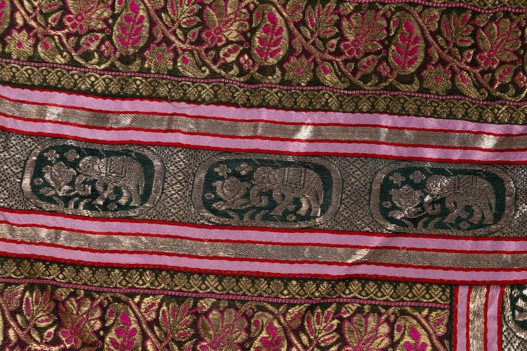 Vintage Indian Silk Embroidered Fabric with Green, Red, Fuchsia and Golden Tones For Sale 11