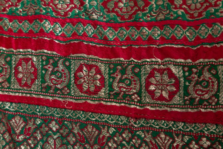 Vintage Indian Silk Embroidered Fabric with Green, Red, Fuchsia and Golden Tones For Sale 12