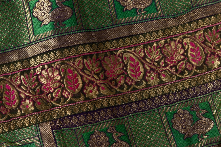 Vintage Indian Silk Embroidered Fabric with Green, Red, Fuchsia and Golden Tones For Sale 13