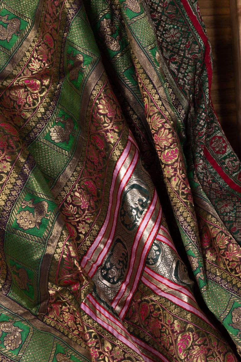 20th Century Vintage Indian Silk Embroidered Fabric with Green, Red, Fuchsia and Golden Tones For Sale