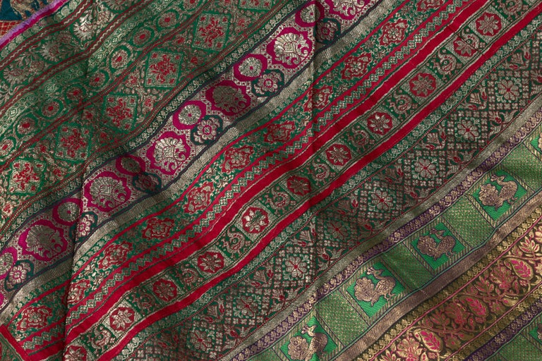 Vintage Indian Silk Embroidered Fabric with Green, Red, Fuchsia and Golden Tones For Sale 2