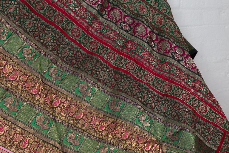 Vintage Indian Silk Embroidered Fabric with Green, Red, Fuchsia and Golden Tones For Sale 3