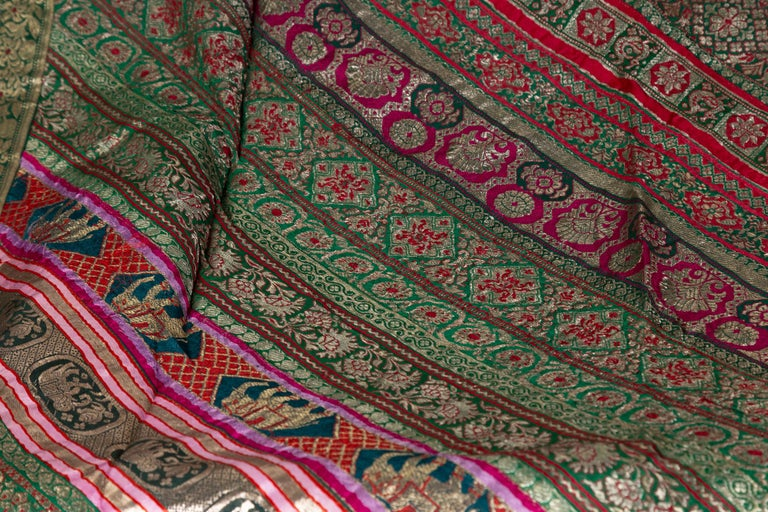 Vintage Indian Silk Embroidered Fabric with Green, Red, Fuchsia and Golden Tones For Sale 4