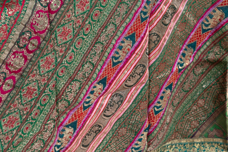 Vintage Indian Silk Embroidered Fabric with Green, Red, Fuchsia and Golden Tones For Sale 5