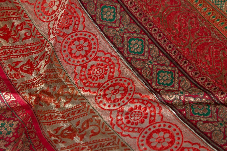 Vintage Indian Silk Embroidered Fabric with Red, Orange, Purple and Golden Tones For Sale 6