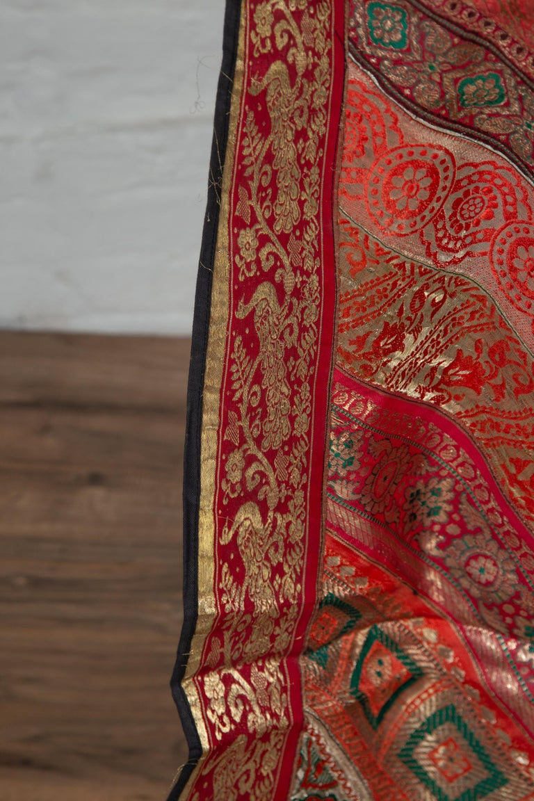 Vintage Indian Silk Embroidered Fabric with Red, Orange, Purple and Golden Tones For Sale 7