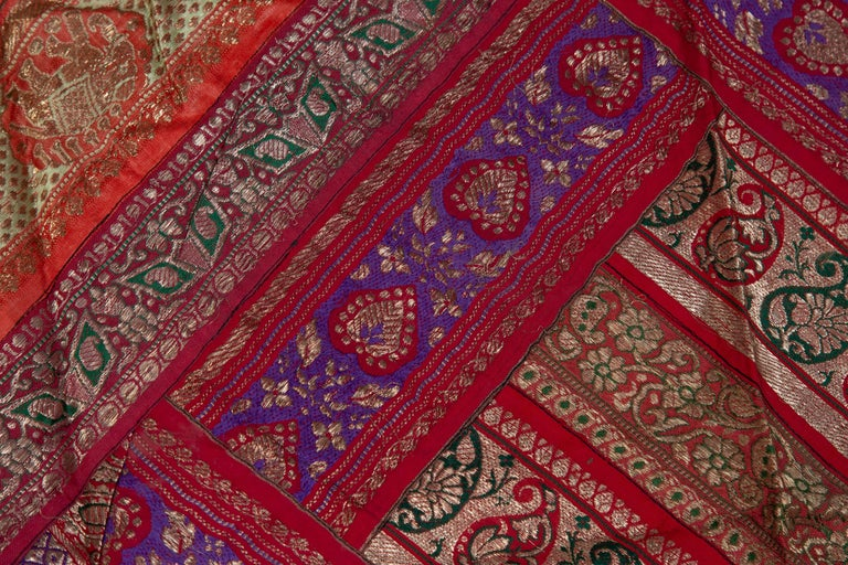 Vintage Indian Silk Embroidered Fabric with Red, Orange, Purple and Golden Tones For Sale 8