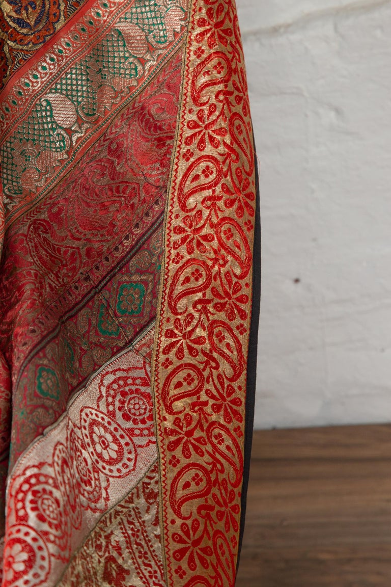 Vintage Indian Silk Embroidered Fabric with Red, Orange, Purple and Golden Tones For Sale 9