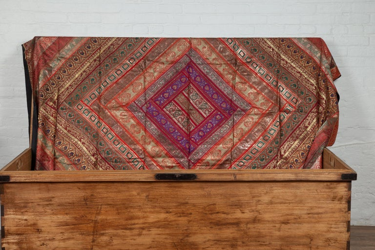 Vintage Indian Silk Embroidered Fabric with Red, Orange, Purple and Golden Tones For Sale 10