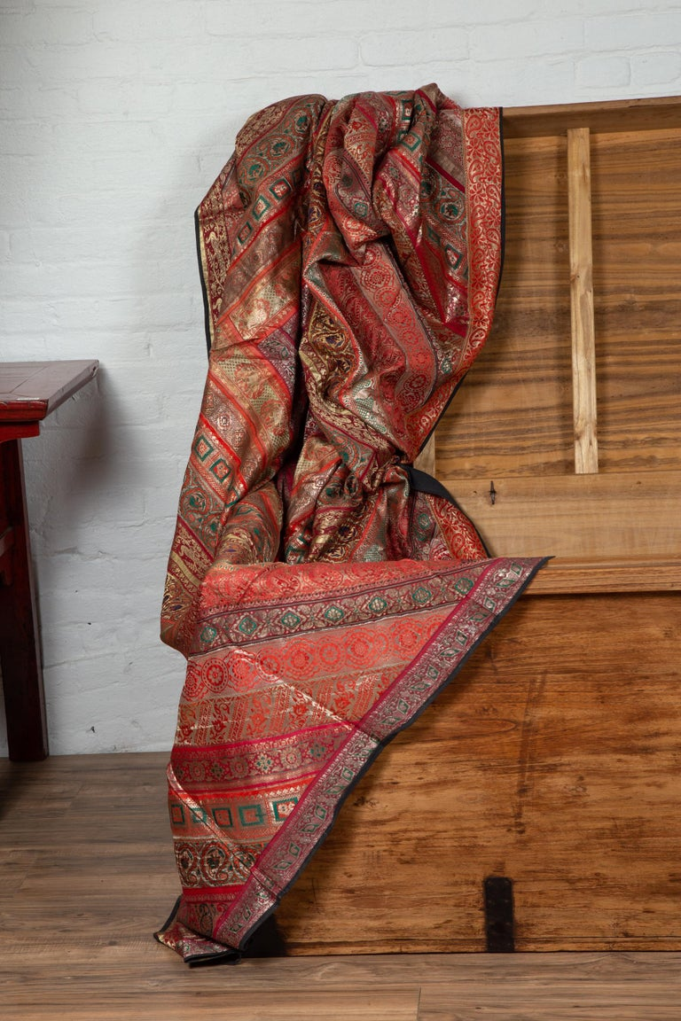 Vintage Indian Silk Embroidered Fabric with Red, Orange, Purple and Golden Tones For Sale 12