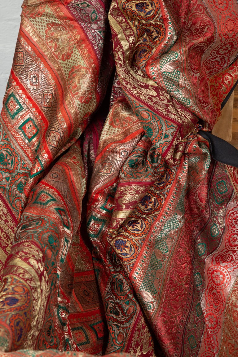 Vintage Indian Silk Embroidered Fabric with Red, Orange, Purple and Golden Tones For Sale 13