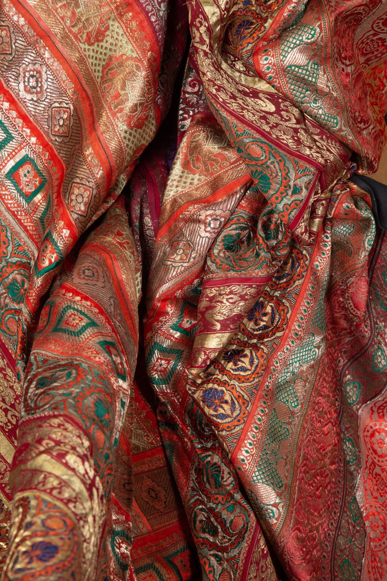 Vintage Indian Silk Embroidered Fabric with Red, Orange, Purple and Golden Tones For Sale 14