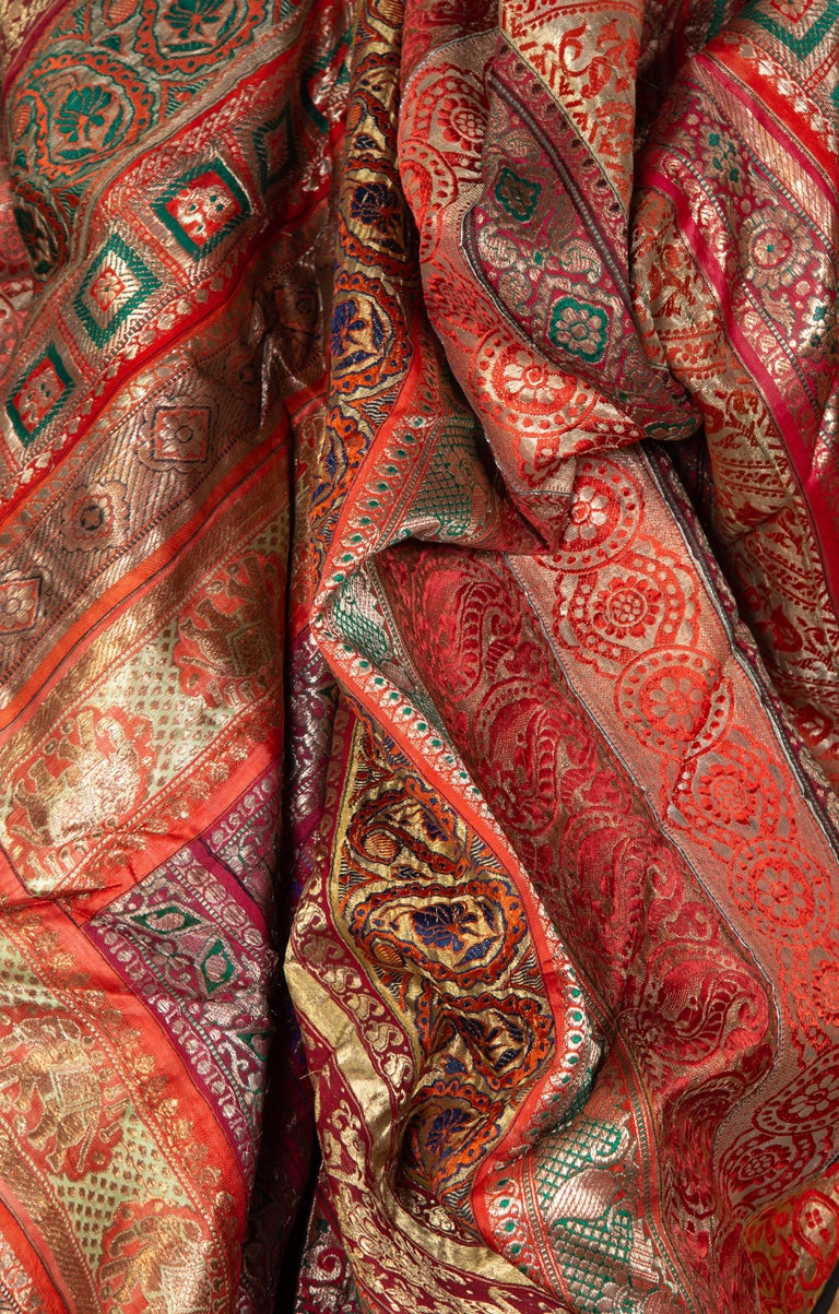Vintage Indian Silk Embroidered Fabric with Red, Orange, Purple and Golden Tones For Sale 15