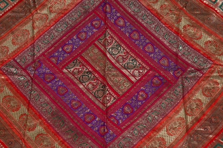 20th Century Vintage Indian Silk Embroidered Fabric with Red, Orange, Purple and Golden Tones For Sale