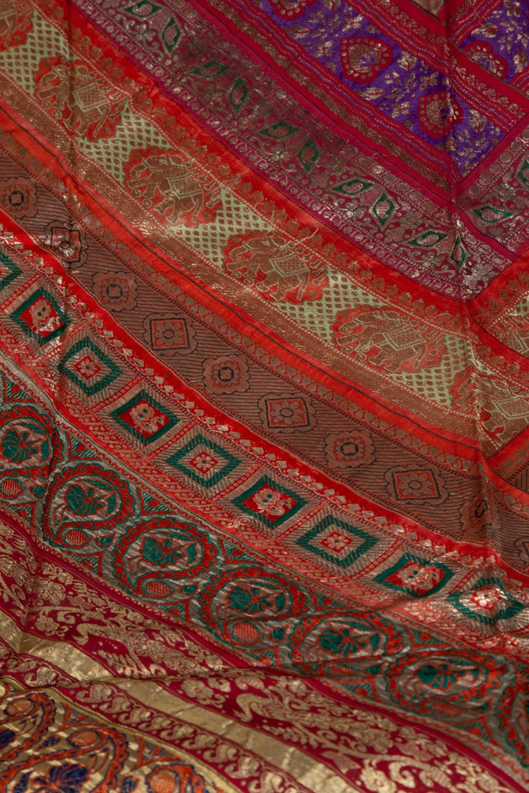 Vintage Indian Silk Embroidered Fabric with Red, Orange, Purple and Golden Tones For Sale 1