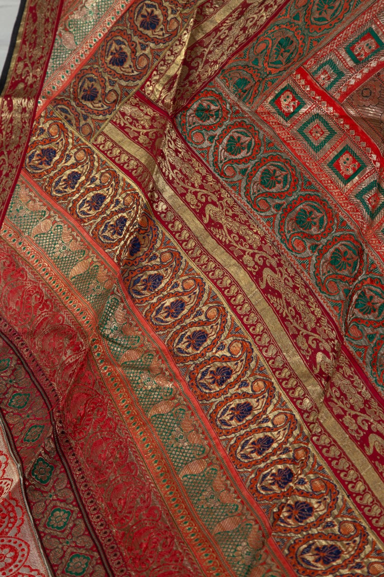 Vintage Indian Silk Embroidered Fabric with Red, Orange, Purple and Golden Tones For Sale 2
