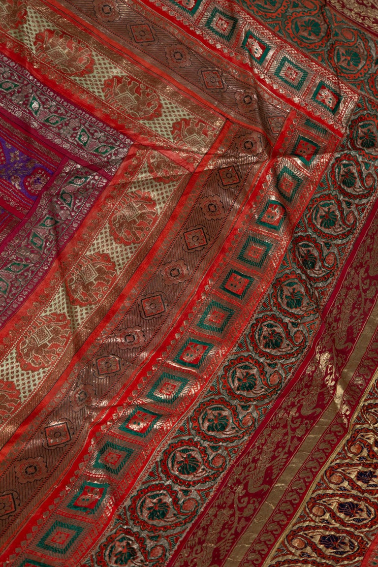 Vintage Indian Silk Embroidered Fabric with Red, Orange, Purple and Golden Tones For Sale 3