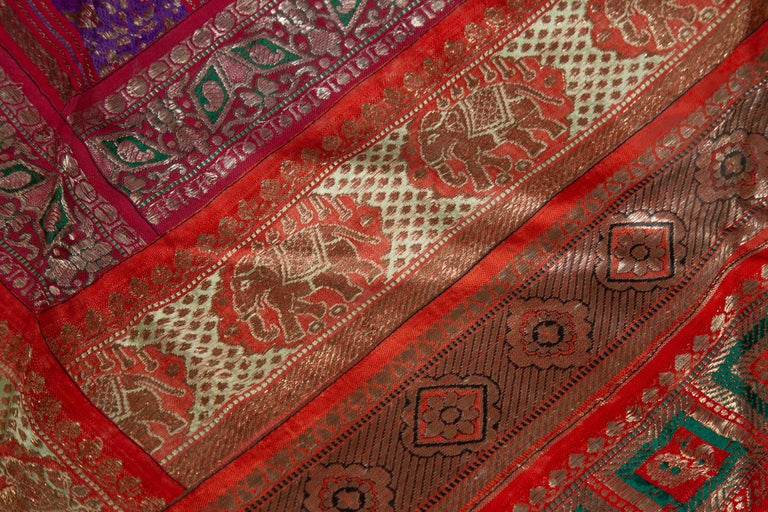 Vintage Indian Silk Embroidered Fabric with Red, Orange, Purple and Golden Tones For Sale 4