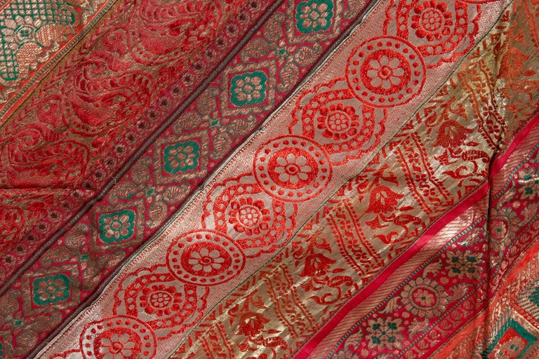 Vintage Indian Silk Embroidered Fabric with Red, Orange, Purple and Golden Tones For Sale 5