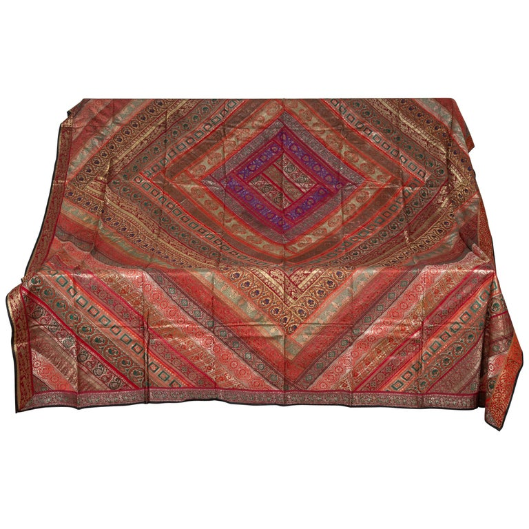 Vintage Indian Silk Embroidered Fabric with Red, Orange, Purple and Golden Tones For Sale