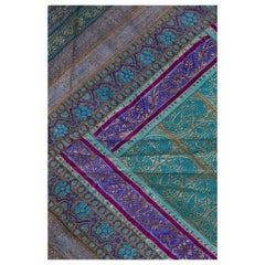 Vintage Indian Silk Embroidered Fabric with Turquoise, Violet and Gold Tones