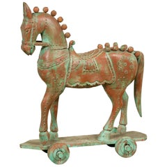 Vintage Indian Temple Two-Toned Wood Horse Toy on Wheels from Madras with Studs