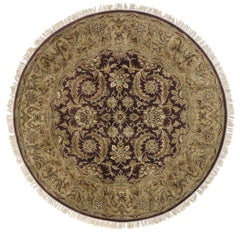 Vintage Indian Traditional Round Area Rug with Rustic Style, Circular Rug