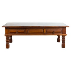 Vintage Indian Wooden Coffee Table with Two Drawers and Baluster Legs
