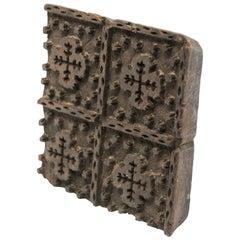 Vintage Indian Wooden Printing Block
