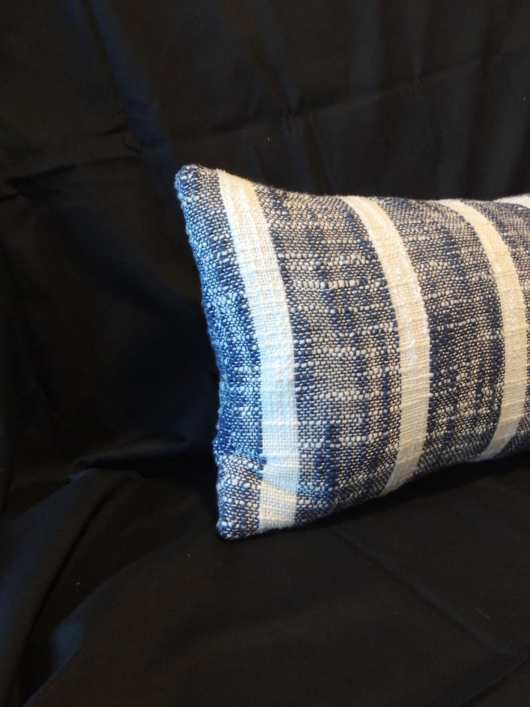 Moorish Vintage Indian Woven Blue and White Stripes Petite Lumbar Decorative Pillow For Sale