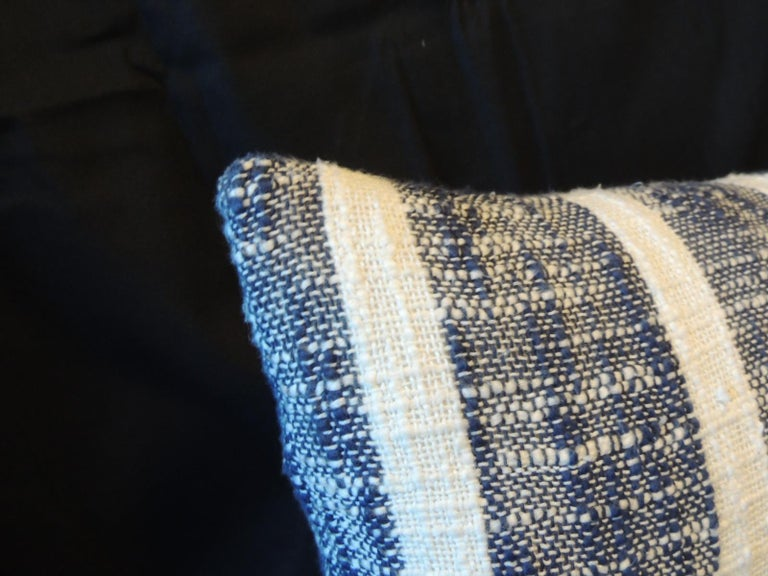 Hand-Crafted Vintage Indian Woven Blue and White Stripes Petite Lumbar Decorative Pillow For Sale