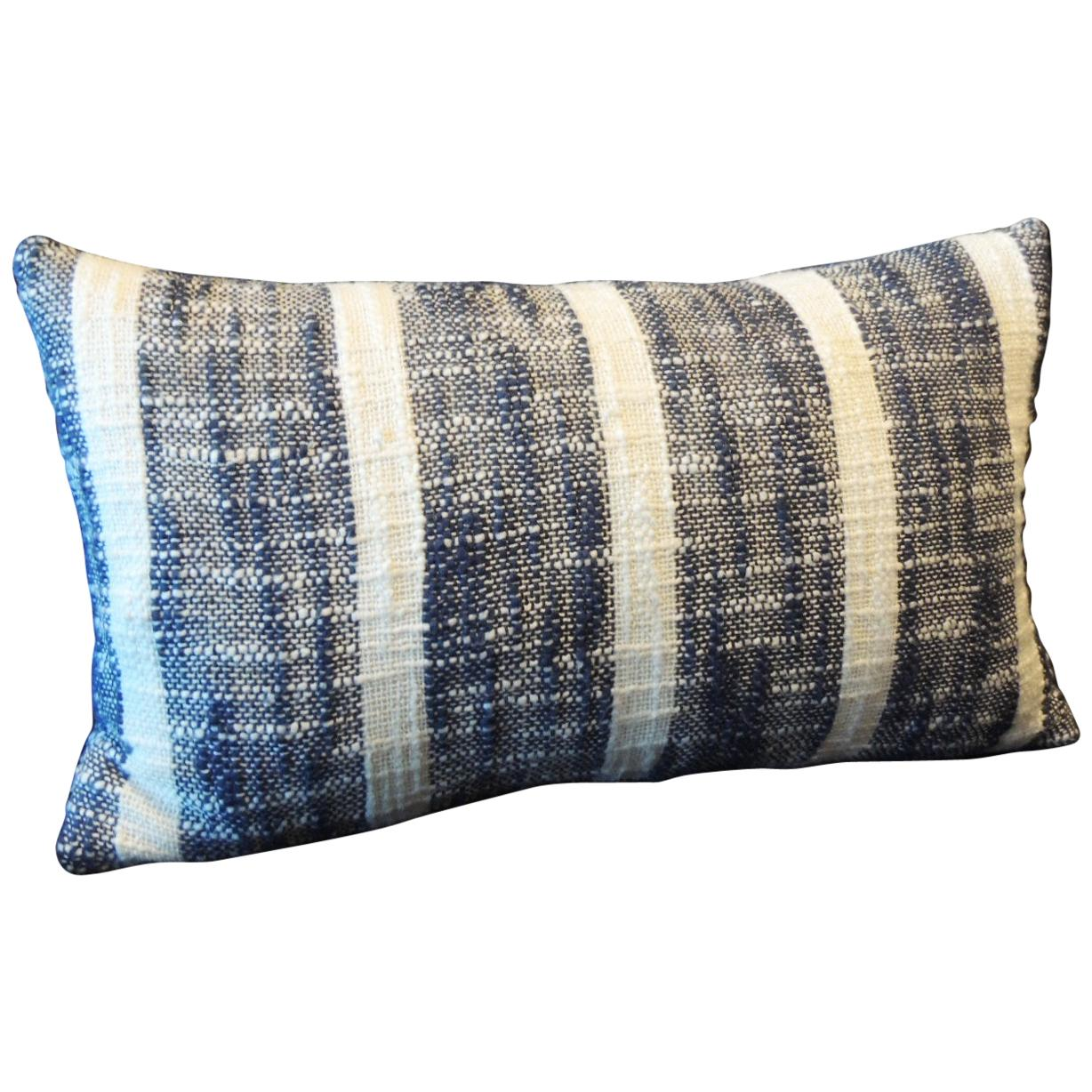 Vintage Indian Woven Blue and White Stripes Petite Lumbar Decorative Pillow