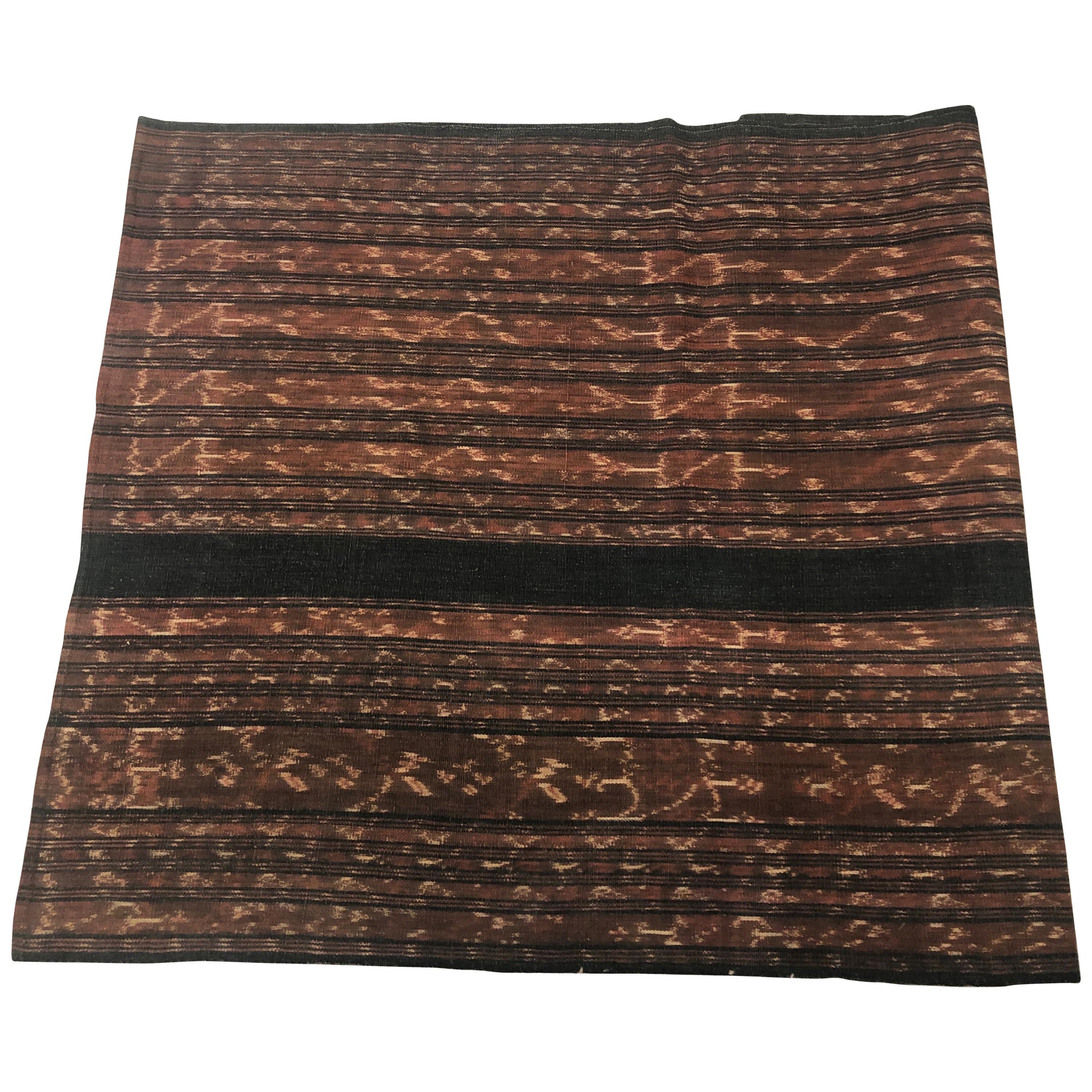 Vintage Indigo and Brown Ikat Textile Panel