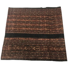 Vintage Indigo and Brown Ikat Textile Panel