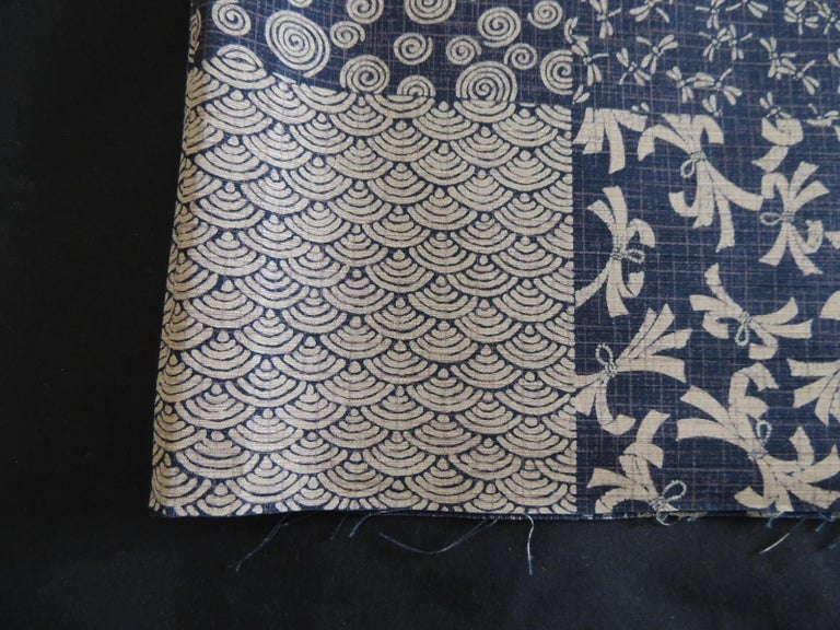 Vintage indigo and natural Japanese