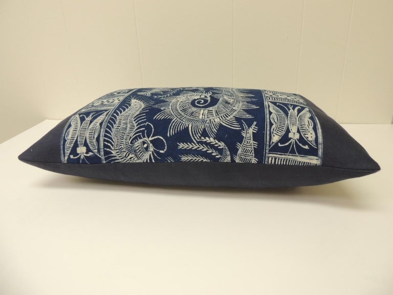 Tribal Vintage Indigo and White Hand-Blocked Batik Lumbar Accent Pillow For Sale