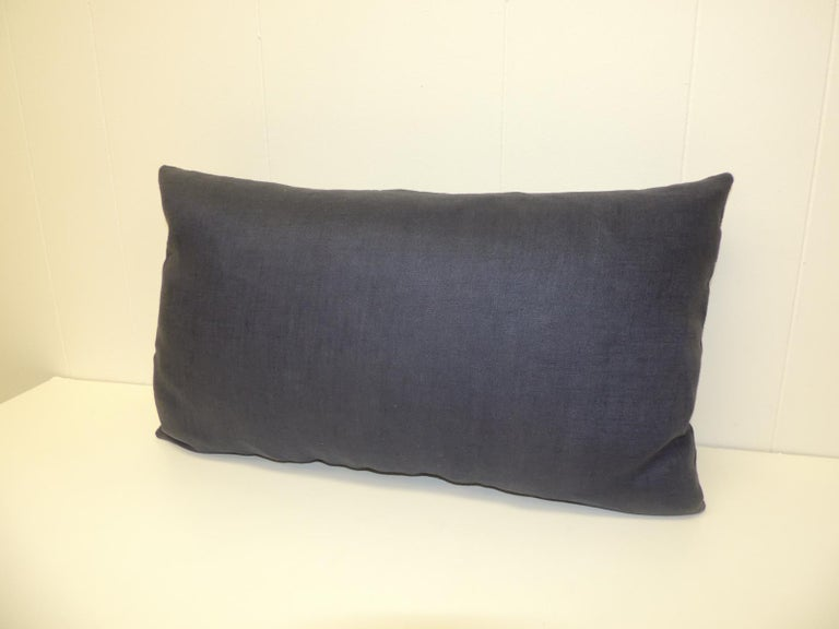 Thai Vintage Indigo and White Hand-Blocked Batik Lumbar Accent Pillow For Sale