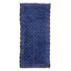 Vintage Indigo Beni M'Guild Moroccan Rug, Blue Berber Moroccan Rug