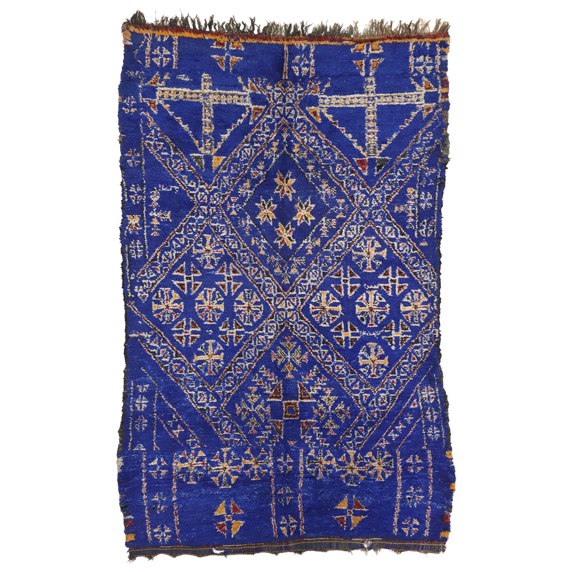 Vintage Indigo Beni Mguild Rug, Berber Blue Moroccan Rug with Tribal Style