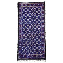 Vintage Indigo Beni M'Guild Rug, Berber Moroccan Carpet