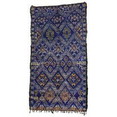Vintage Indigo Beni M'Guild Rug with Tribal Style, Berber Blue Moroccan Rug