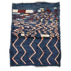 Vintage Indigo Blue Abstract Design Tribal Rug