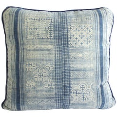 Vintage Indigo Blue and White Batik Pattern Pillow
