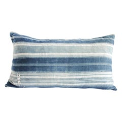Vintage Indigo Blue and White Stirpe Mudcloth Lumbar Pillow